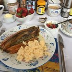 Breakfast, Kippers & Scrambled eggs, yogurt