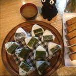 Please try our traditional Japanese Breakfast - 2 x onigiri & miso soup! Yum