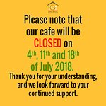 Kindly take note of our Closure Dates in July 2018.