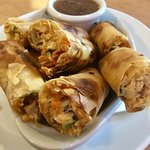 Spring rolls stuffed with chicken
