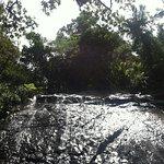 Water flowing down boulder