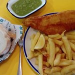 Haddock chips and mushy peas bread and butter