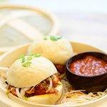 BAO. Available in: Schezwan Paneer, Goan Chicken Sausage & Sriracha Chicken