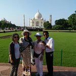 Hi Greeting From Taj Mahal Tour Guide Family Group Neeraj with our client in Taj Mahal