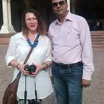 Hi Greeting From Taj Mahal Tour Guide Family Group Mujeeb with our client in Agra Fort