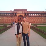 Hi Greeting From Taj Mahal Tour Guide Family Group Farid with our client in Agra Fort