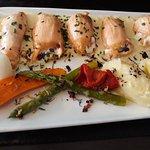 Aumonieres d'huitres chaude au saumon et beurre blanc