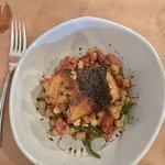 Sea bass on chickpea salad