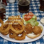 Fish Sandwich with Onion Rings