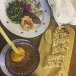 Harira soup, salads and cheese bread