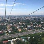 Riding the gondola up Kok Tobe