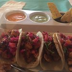 Chicken Tacos with Tomato/Cliantro, Jalepeno/Cliantro, and Black Bean Dip