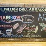 Colorful Blackboard Mural with Breakfast Offerings
