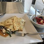 Chicken crepe w/ a side of fruit at Creperi Cafe on Corridor G