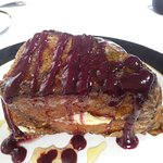 Stuffed Cream Cheese French Toast made with Challah Bread and Berry drizzle