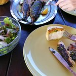 garlic bread, simple grilled fish, and green salad with onions (!)
