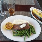 Blackened salmon, with mashed potatoes, green beans, and Mexican corn.