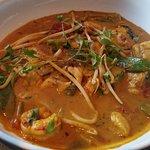 Malaysian fish curry, bass, scallops, monk fish, prawns...