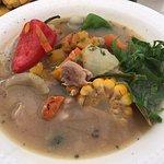 Chicken & veggie soup.