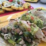 Fish tacos that were crunchy & fresh.