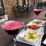 Hibiscus Martini and Appetizer