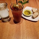 Bloody Mary and some bread with oil