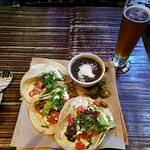 Taco platter and a beer