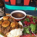 Spicy scallops with rice and beans and salad, and a Free Dive IPA