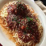 Angel hair pasta with meatballs