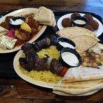 Sampler platter, falafel, beef platter.