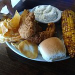Chicken tenders, fried corn.