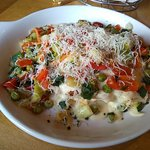 Lasagna Alfredo with garden veggies.