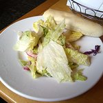 Salad and bread.