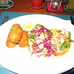 Prawn curry with coleslaw and potato croquette
