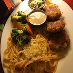 Crab cakes, steamed veggies and zesty fettuccine