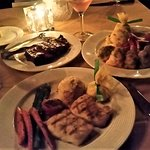 New York Strip (to share), Jumbo Stuffed Prawns, Chilean Sea Bass