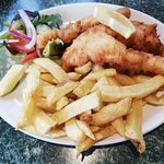My wife's Cod strips, chips and side salad