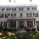 Front of the house decorated for Independence Day