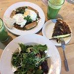 Huevos Rancheros, healthy smoothie, salad, quiche