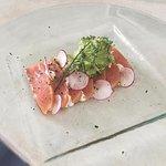 Smoked Salmon Delmonico / yuzu /truffle oil / spicy mayonnaise / broccoli