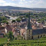 The view from the terrace with the vineyard and the town of Klingenburg am Main