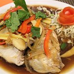 Steamed Red Snapper Fish with vegetables