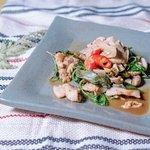 炒山豬肉 - Sautéed Wild Boar, Basil, Garlic  with Satay Sauce