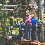 Getting ready to zip the saddle across the ravine