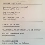 Lunchtime menu at the Ritz