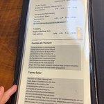 The menu at St Giles Café and Bar.