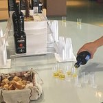 sampling some of the delicious olive oils