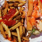 Lobster roll LOADED with meat.