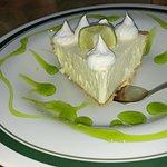 Wonderful key lime pie, nicely presented.