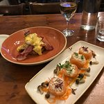 crab and salmon shimeji roulade and eggs Benedict